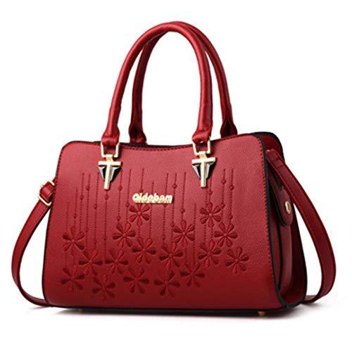 en d'épaule grande élégants à cuir Red de de sacs dames capacité de pour Sacs femmes bandoulière broderie main de main à des à Sacs 0ZqIpp