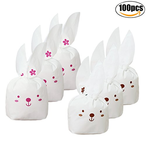 Coxeer Easter Candy Bag Set, 100PCS Bunny Candy Bags Cute Bu