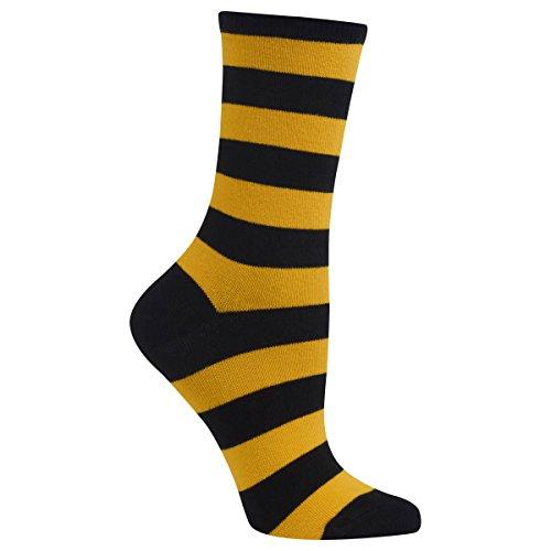 Deer Socks (Hot Sox Women's Originals Fashion Crew Socks, College Rugby Stripe (Black/Sport Yellow), Shoe Size 4-10/Sock Size 9-11)