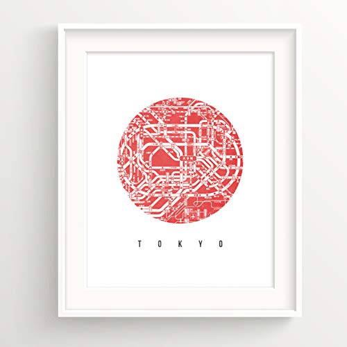 Urban Decal Tokyo City Map Print Modern Art Design Jpan Map Home Office Decor Poster - Red 8x10 Inches (NO Frame)
