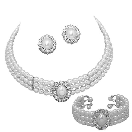 2709115423d8af Entire Look White Pearl Bridal Necklace Set, Earring, Bracelet Heirloom  Style CG1