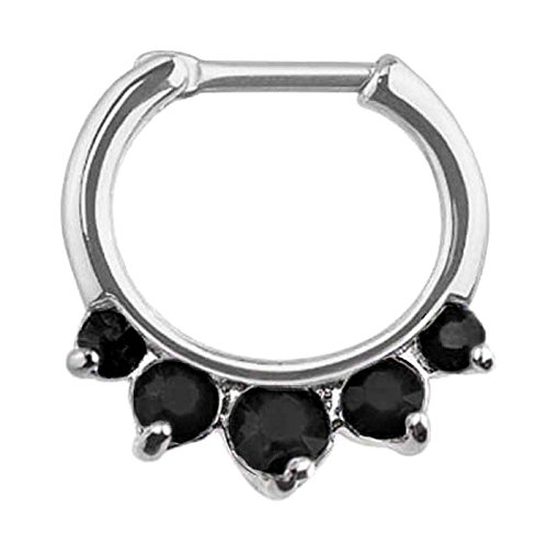 Black 5 prong set gem Septum Clicker Nose Ring Hoop Stainless Surgical Steel body Jewelry piercing bar 16g