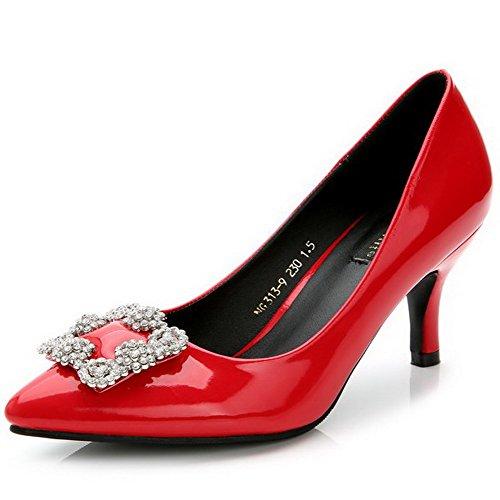 Damen Rein Schuhe Diamanten Hoher AalarDom Zehe Wasser Pumps Spitz Ziehen Auf Rot Absatz mit Diamanten dxw4Sq