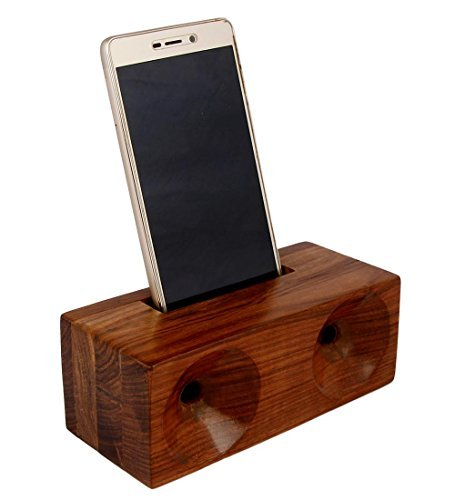 MOJO PANDA Mojopanda Sheesham wood Phone Sound Amplifier Trumpet Holder Amplifier Loudspeaker for Phone Desktop Decoration, Phone Dock & Wood Speaker by MOJO PANDA