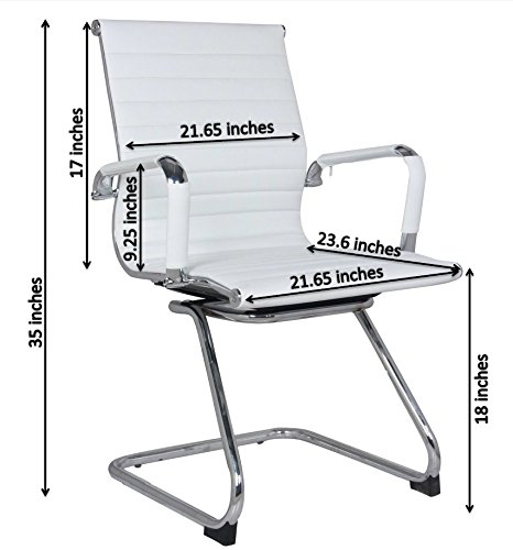 Classic Replica Visitors Chair in White PU Leather. Chrome arms with Protective arm Sleeves with Zip Available. Suitable for Office and Home   Set of 2 Chairs by US Office Elements (Image #5)