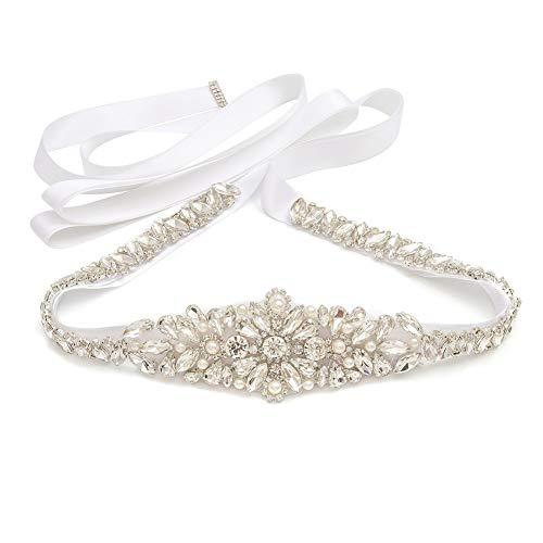 Yanstar White Thin Full Length Wedding Bridal Belt Sash Silver Rhinestone Crystal Pearl Belt White Ribbon for Bridesmaid Prom Dresses -
