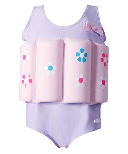 Flotation Swimwear (Zerlar Swimwear Float Suit with Adjustable Buoyancy for 1-10 years Babies Swimming Boating (Purple Flower, Height: 31.5''-35.4''/Weight: 19.8lb - 26.4lb))