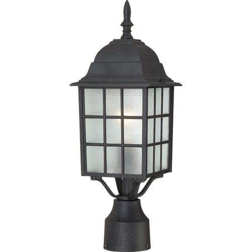 (Nuvo Lighting 60/4909 Adams One Light Post Lantern 100 Watt A19 Max. Frosted Glass Textured Black Outdoor Fixture)