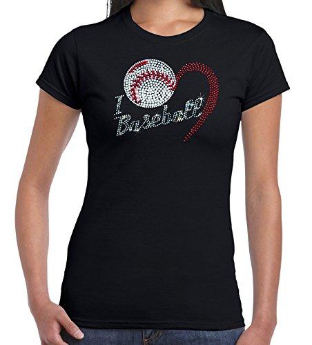 U.S. Custom Tees Women's I Heart Baseball Rhinestone Short Sleeve T-Shirt (Medium, Black) (Custom Bling T-shirts)