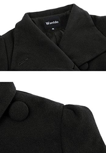 Wantdo Mujer Abrigo De Lana Con Cinturón Negro