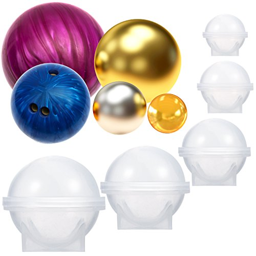 BBTO 5 Pieces Set Sphere Round Resin Mold with Stand Silicone for Bath Bomb, Jewelry Making, Crafting, Candle Wax, Dispensing, Homemade Soap