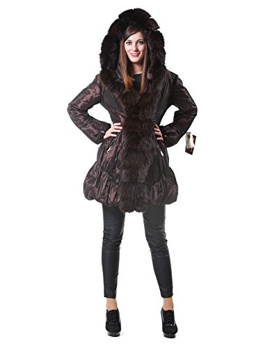 Hood Jacket Fur Dark Brown and Woman Edges Fox Down nSnwx1RYqH
