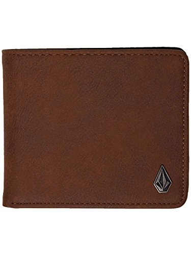 - Volcom Slim Stone L Faux Leather Wallet in Brown