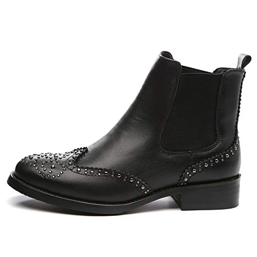 Bullock Bottillons En Cuir Femme Imperméable Femmes Chaussures Martin Plat Marche Pour Véritable Cheville Bottes Bottes Black Randonnée De élastique Pointu Goujons z7dvx7