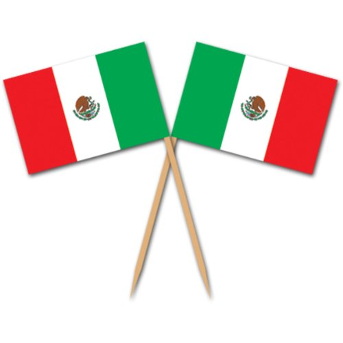 Beistle Mexican Flag Picks 2.5-Inch (50-Count), Green/Red/White, Pkg of 1 -