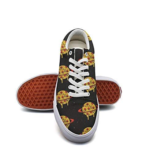Women'sblack Pizza Planet Canvas Shoes Low-Cut Straps Unique Sneakers Suitable for Walking]()