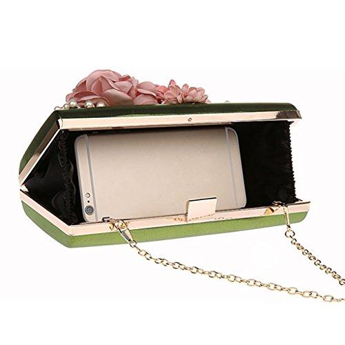 Purses Party Handbags Women Clutches Clutch Evening Green Wedding Black Satin Bags Fenteer Flowers qv1WAnff