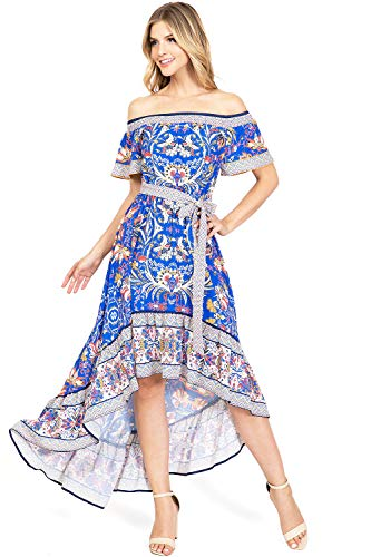 Flying Tomato Women's Off Shoulder Hi-Low Floral Dress (L, Blue Floral)
