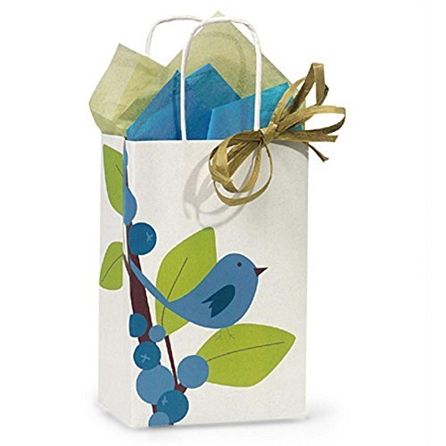 Blue Bird Berries Paper Shopping Bags - Rose Size - 5 1/2 x 3 1/4 x 8 3/8in. - 200 Pack by NW