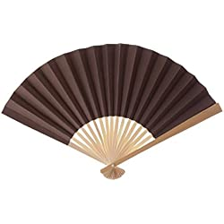 Koyal Wholesale Decorative Paper Fans, Chocolate Brown, Set of 10