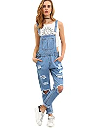 Women's Casual Bid Strap Ripped Denim Overalls Jumpsuit