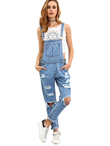 85399be09178 MakeMeChic Women s Casual Bid Strap Ripped Denim Overalls Jumpsuit Blue S.  Amazon.com