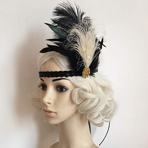 Vintage 20s Feather Headband Flapper Charleston Party Headpiece Fancy Dress
