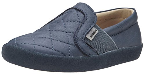 Leather Sole Stitch (Old Soles Girl's and Boy's My Quilt Navy Stitch Elastic Band Leather Slip On Loafer Sneaker 28 M EU/11 M US Little Kid)