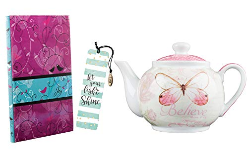 Christian Tea Pot Journal Set for Women | Believe Art Teapot with Joy Journal and Bookmark