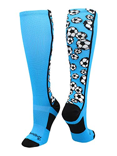 MadSportsStuff Crazy Soccer Socks with Soccer Balls Over The Calf (Electric Blue/Black, Small)