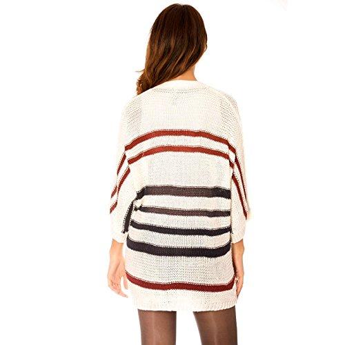 Miss Wear Line Gilet fin blanc en maille style chauve souris à rayures rouge et noir