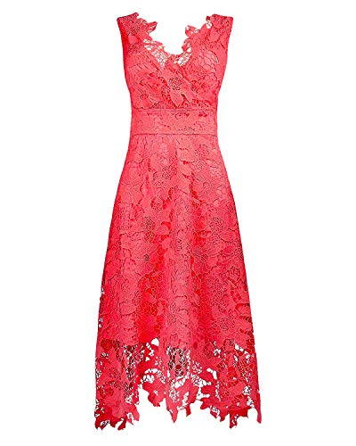 KIMILILY Women's V Neck Sleeveless Floral Lace Bridesmaid Coral -