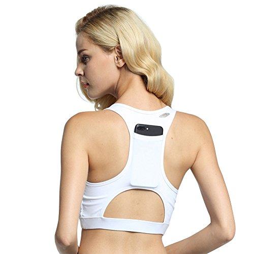 DaiLiWei Women Sport Bra Phone Pocket Running Yoga Bras Padded High Impact Workout Racerback Activewear