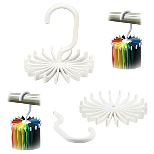 2 Pack Men Tie Rack Plastic Rotating Adjustable Organizer Belt Scarf Holds 20 Items Strong And Bendable Rotatable Design Closet Organizer Storage Brand New