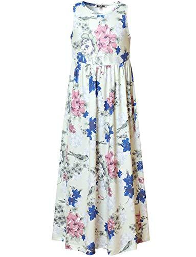 Teen Girls Maxi Dresses Size 12 13 Floral Summer Dress Casual Holiday Sun-Dress ()