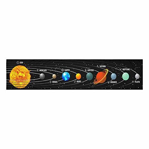 InterestPrint Planet of Solar System With Astronomical Long Table Runner 14'' x 72'' Inch,Natural Rectangle Table Runners,Wedding Party Decoration Kitchen Decor Farmhouse Decoration by InterestPrint (Image #1)