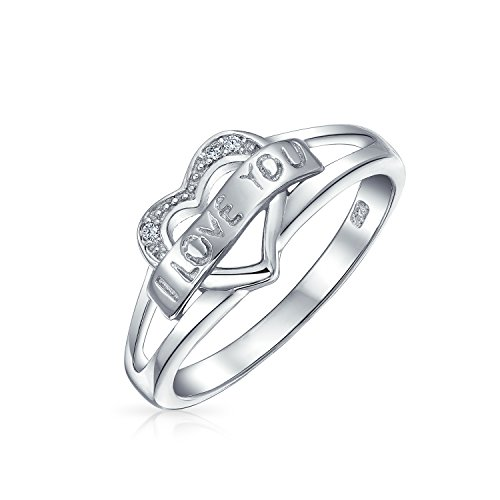 Bling Jewelry Sterling Silver CZ I Love You Heart Ring