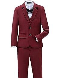 Boys Suits Set 5 Piece Size 2T-14 Burgundy Slim Fit Boy Suit