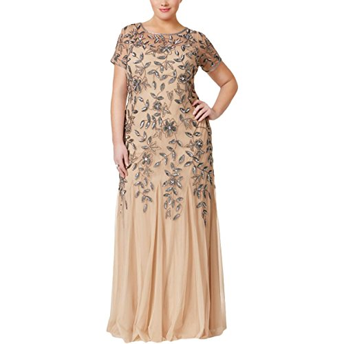 adrianna papell women's plus size floral beaded gown with godets - 411OnR5WQKL - Adrianna Papell Women's Plus Size Floral Beaded Gown With Godets