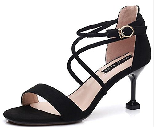 women club cross heel high Women night 2018 sandal lady 7cm tied party shoes fashion balck newest women 6 sandal thin night sexy I0T04A