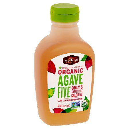 Madhava Naturally Sweet Organic Agave Five Low-Glycemic Sweetener, 16 Ounce (12 Pack)