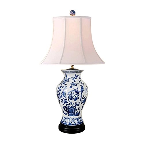 Blue and White Bird Motif Porcelain Vase Table Lamp 26'' by Asian Style Furnishing