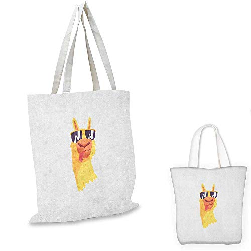 (Llama small clear shopping bag Funny Sunglasses Wearing Farm Animal Cartoon Character South American Mascot Design sloth shopping bag Multicolor. 16