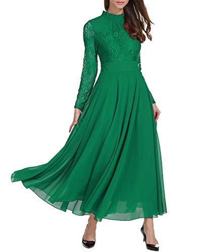 Roiii Women's Formal Floral Lace Chiffon Long Sleeve Ruched Neck Long Dress Evening Cocktail Party Maxi Dress Green