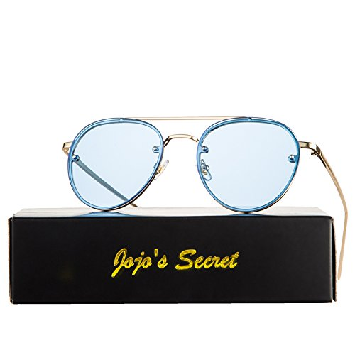 JOJO'S SECRET Oversized Round Mirrored Sunglasses,Clear Lens Aviator Sunglasses JS021 (Gold/Transparent Blue, - Blue Lense Sunglasses