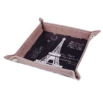 Autumn Water 1PC Retro Black Paris Eiffel Tower City Words PU Leather Mens Catchall Change Key Wallet Coin Box Storage Tray Valet