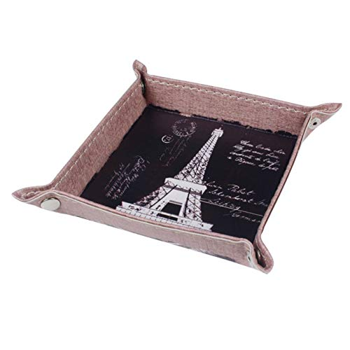 Autumn Water 1PC Retro Black Paris Eiffel Tower City Words PU Leather Mens Catchall Change Key Wallet Coin Box Storage Tray Valet