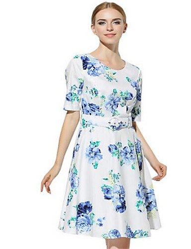 PU&PU Robe Aux femmes Gaine Street Chic,Fleur Col en U Au dessus du genou Polyester , white-xl , white-xl
