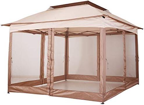 Outsunny – Carpa para cenador Plegable de jardín con Paredes Laterales PopUp 3, 25 x 3, 25 x 2, 95 cm, Caqui: Amazon.es: Jardín