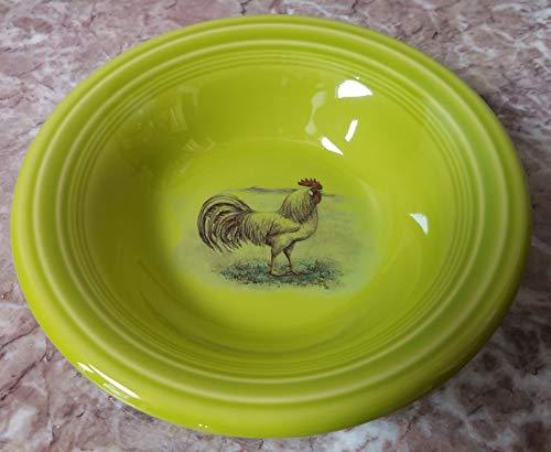 Cereal Bowl w Chicken White Leghorn Rooster - Fiesta Fiestaware Homer Laughlin China Co - Lemongrass